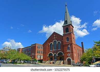 SALEM, MA, USA - SEP 7, 2014: Immaculate Conception Church - Mary, Queen of the Apostles Parish on 15 Hawthorne Blvd, Salem, Massachusetts, USA.