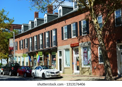 SALEM, MA, USA - SEP 7, 2014: Front Street with commercial shops in Salem, Massachusetts, USA.