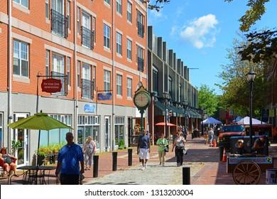 SALEM, MA, USA - SEP 7, 2014: Historic Buildings on Essex Street in Historic downtown Salem, Massachusetts, USA.
