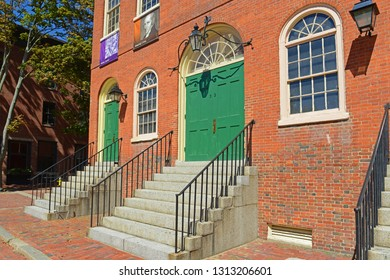 SALEM, MA, USA - SEP 7, 2014: Old Town Hall in Salem, Massachusetts, USA. This federal style building is the oldest surviving municipal building in Salem.