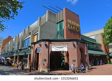 SALEM, MA, USA - SEP 7, 2014: Museum Place Mall on Essex Street in Historic downtown Salem, Massachusetts, USA.