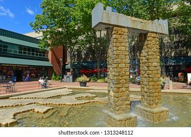 SALEM, MA, USA - SEP 7, 2014: Gate Sculpture in Salem Maritime National Historic Site in historic town Salem, Massachusetts, USA.