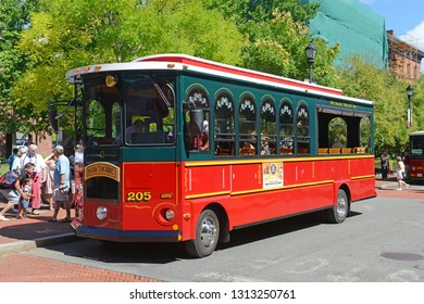 SALEM, MA, USA - SEP 7, 2014: Salem Trolley in historic town Salem, Massachusetts, USA.