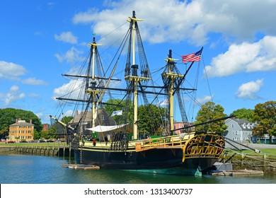SALEM, MA, USA - SEP 7, 2014: Friendship of Salem at the Salem Maritime National Historic Site (NHS) in Salem, Massachusetts, USA.