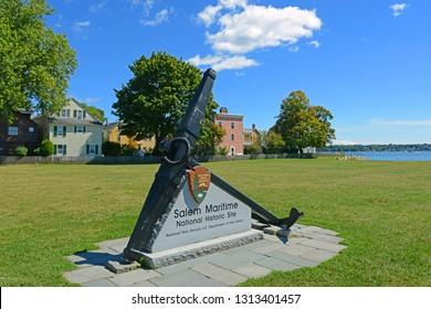SALEM, MA, USA - SEP 7, 2014: Salem Maritime National Historic Site (NHS) entrance with replica anchor in Salem, Massachusetts, USA.