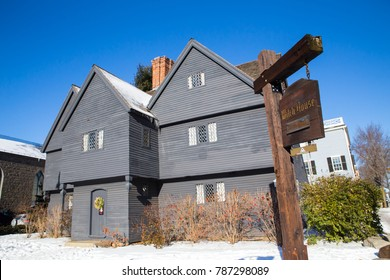 SALEM, MASSACHUSETTS - DECEMBER 28, 2017:  View of the historic Salem Witch House, former home of Judge Jonathan Corwin.