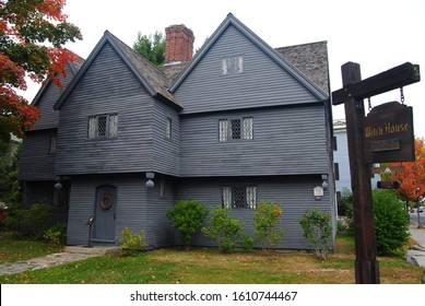 Salem, Massachusetts, United States of America -September 25, 2014. Exterior view of the Witch House in Salem, MA, the home of Jonathan Corwin, a local magistrate who investigated witchcraft claims
