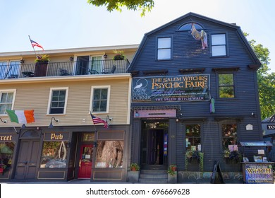 Salem, Massachusetts,USA - September 14, 2016: Salem Massachusetts has a variety of novelty shop which attracts tourist who visit this famous historical town on the east coast.