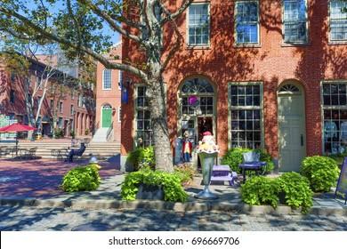 Salem, Massachusetts,USA - September 14, 2016: An cute ice cream shop located in the historical downtown Salem Massachusetts.