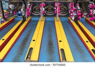 Salem, Oregon - August 29, 2017: State Fair Skee Ball arcade game and prizes.