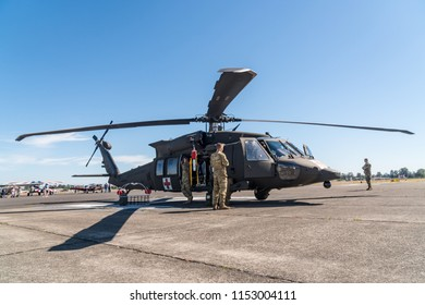 Salem, Oregon - August 4, 2018: Modern Military rescue helicopter.