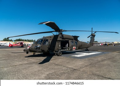 Salem, Oregon - August 4, 2018: A rescue helicopter on display at the Warbirds Over the West 2018 air show.