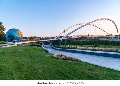 Salem, Oregon - September 6, 2018: The New Bridge near downtown Salem by the Willamette River waterfront is a favorite strolling/biking spot for locals.
