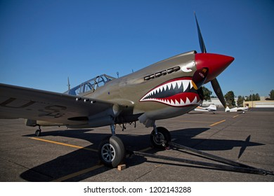 Salem, Oregon / USA - August 4, 2018: Warbirds Over the West Fly In Vintage Curtiss P-40 Warhawk Airplane
