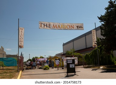 Salem, Oregon USA - July 9, 2021: The entry gate to the Marion County Fair