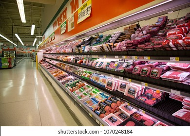 Salem, Oregon / USA -  March 21, 2018: Packaged meats in supermarket refrigerated section