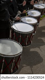 Salem, Oregon / USA - May, 5 2018: Multiple Sclerosis Walkathon / Isolated, partial view of drummers wearing all black, no sky