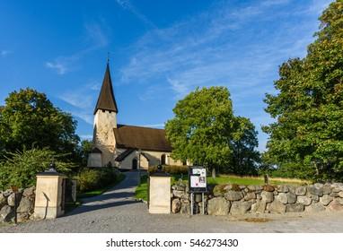 Salem, Sweden - September 11 2016: Church of Salem, the sun shines on an autumn day