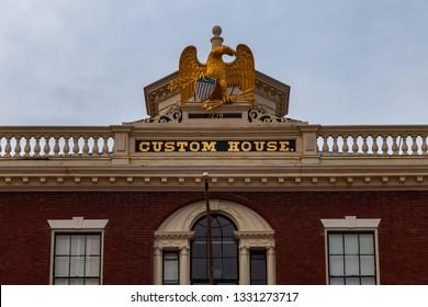 Salem, USA- March 03, 2019: Custom House at the Salem Maritime National Historic Site (NHS) in Salem, Massachusetts, USA