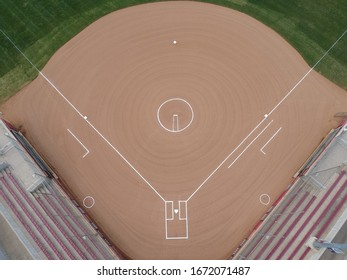 Salem, Virginia / USA - March 12, 2020: Aerial view of the infield of a baseball diamond