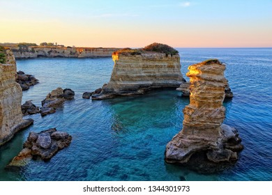 Salento coast landscape in Italy. Torre Sant Andrea in Apulia region.