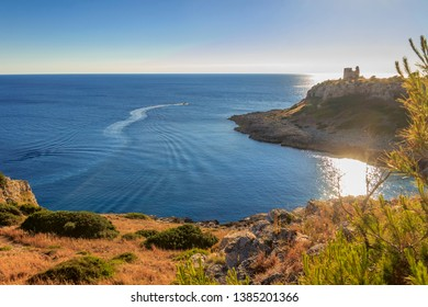 Salento coast: view of Uluzzo Bay with watchtower . - ITALY (Apulia) -Regional Natural Park Porto Selvaggio and Palude del Capitano is rocky and jagged, with pine forests and Mediterranean scrub.