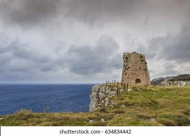 Salento coastline: Minervino watchtower. This medieval ruin is located in The Otranto Santa Maria di Leuca Coast and Tricase Woods Regional Nature Park.Italy (Apulia).