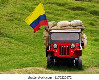 SALENTO, COCORA VALLEY, AUGUST 17, 2018: Jeep Willys on Cocora valley in Cordiliera Central, Salento, Colombia, South America