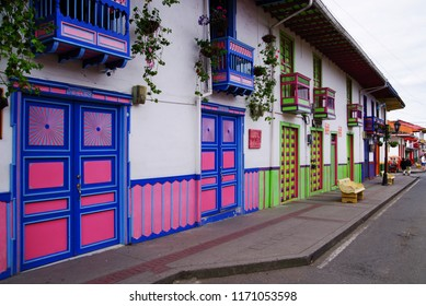 SALENTO, COLOMBIA, AUGUST 17, 2018: Street scene in Salento, Colombia, South America