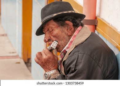 Salento - Colombia - Jan. 27, 2014:  Man with neurofibromatosis (von Recklinghausen disease) playing a harmonica on the streets of Salento, Colombia, South America