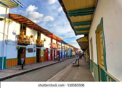 SALENTO, COLOMBIA - JUNE 8: View of the main street in the colonial town of Salento, Colombia on June 8, 2016