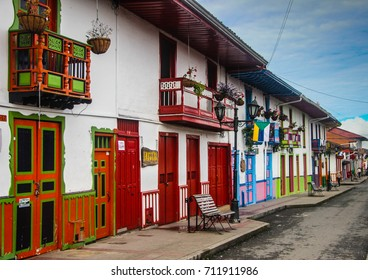 SALENTO, COLOMBIA - MAY 11, 2016: Colourful streets of Salento town