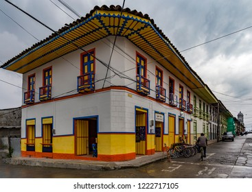 SALENTO, COLOMBIA - OCTOBER 25, 2015: Unidentified people on a street in Salento. Salento is a sleepy little town in Quindío department, in the Zona Cafetera region of Colombia.