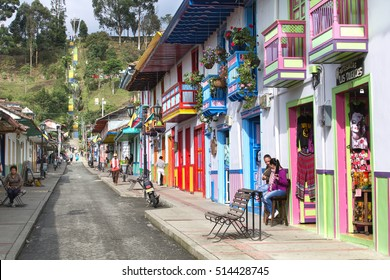 SALENTO, COLOMBIA - OCTOBER 4, 2016: Colorful decorated houses in Salento village, Colombia