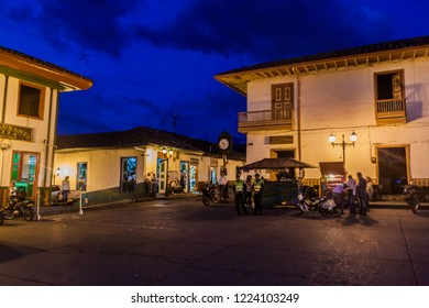 SALENTO, COLOMBIA - SEPTEMBER 7, 2015: Evening view of houses on the main square in Salento village, Colombia
