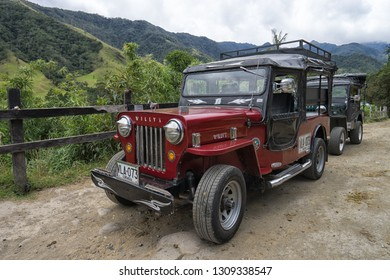 Salento, Colombia- September 9, 2018: vintage all terrain vehicles used as taxis for tourists