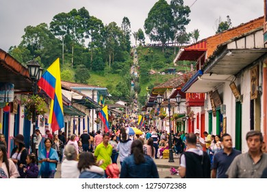 Salento, Quindio / Colombia - 06 30 2018: Streets of Salento
