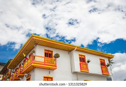 SALENTO, QUINDIO / COLOMBIA - OCTOBER 22, 2017 Colorful decorated houses in the village of Salento, Colombia