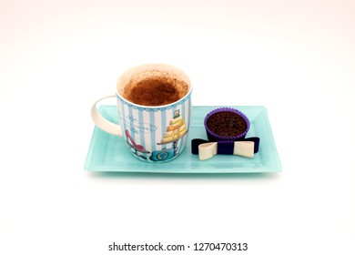 salep and cake on blue plate top. white background