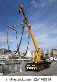 Salerno, Campania, Italy - December 6, 2018: Wagon crane at the port Masuccio Salernitano