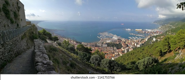 Salerno, Campania, Italy - July 23, 2018: Panoramic photo of the gulf from the top of the castle
