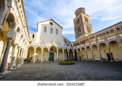 Salerno, Italy - 01 December 2017:  In the courtyard of Salerno Cathedral, the Norman Dome of Saint Matthew