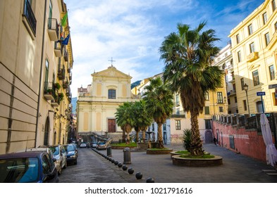 Salerno, Italy: 01 February, 2018: Piazza (Square) Abate Conforti and La Chiesa dell'Addolorata (The Church of Sorrows) in Salerno, Italy