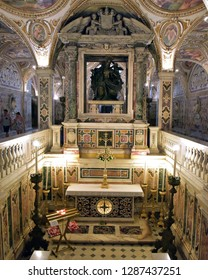 Salerno, Italy - 1st july 2018: The historic crypt of the Cathedral of Salerno