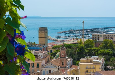 Salerno (Italy) - The historic center and the port of the big city on Tirreno sea, Campania region, southern Italy. Here in particular the view from Giardino della Minerva garden and terrace