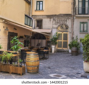 Salerno, Italy - july 3, 2019: Walking through the streets of old Salerno