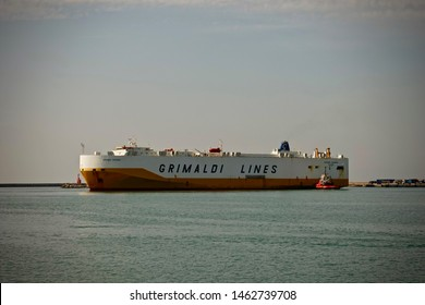 Salerno, Italy-September 16, 2018: Ship in the port of Salerno.