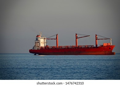 Salerno, Italy-September 17, 2018: Ship in port in Salerno, Italy.
