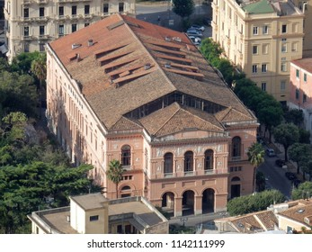 Salerno - The nineteenth-century Giuseppe Verdi Municipal Theater seen from the top of the castle