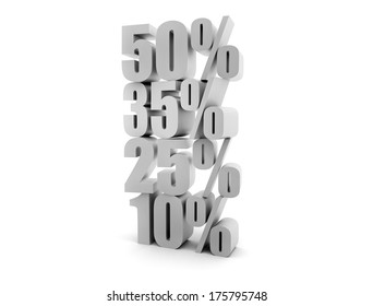 Sales background. Different sales percentage stacked 3d render